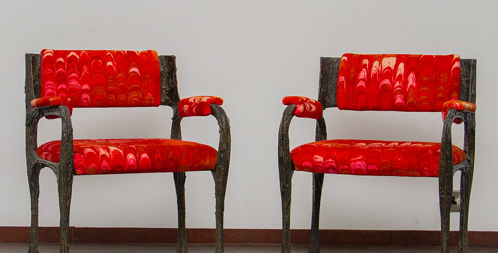 Pair Of Paul Evans Sculpted Bronze Armchairs late 1960s