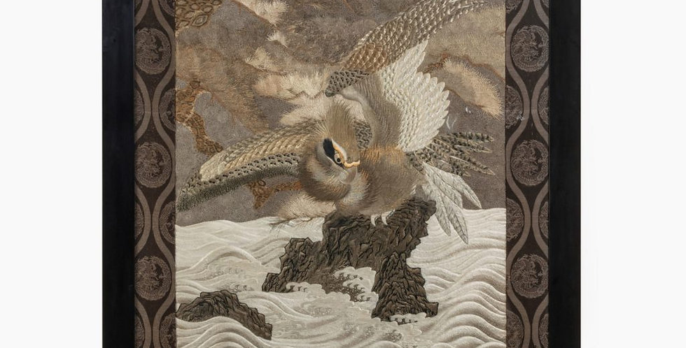 A Large Meiji Period Silk Embroidery of a Sea Eagle