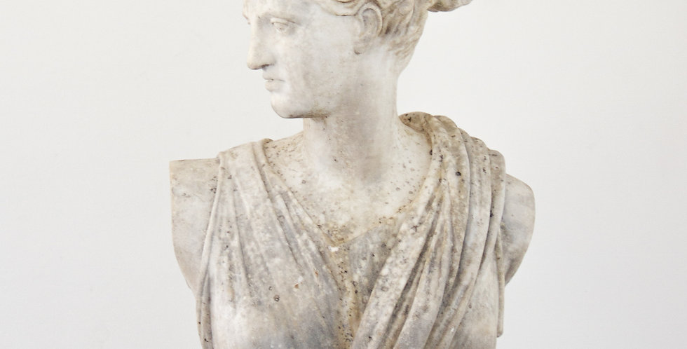 A Large Marble Bust of Diana the Huntress