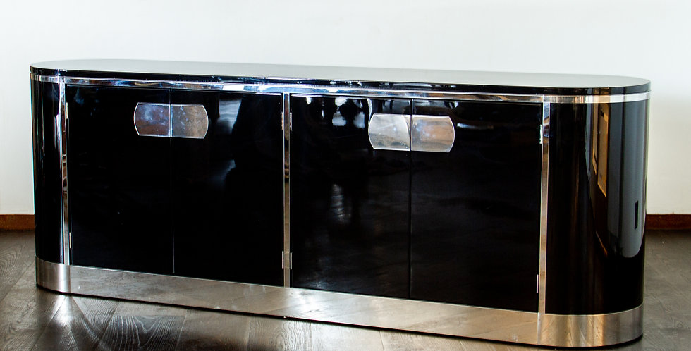 High Gloss Black Lacquered Curved Cabinet Designed by Mastercraft,  1960s