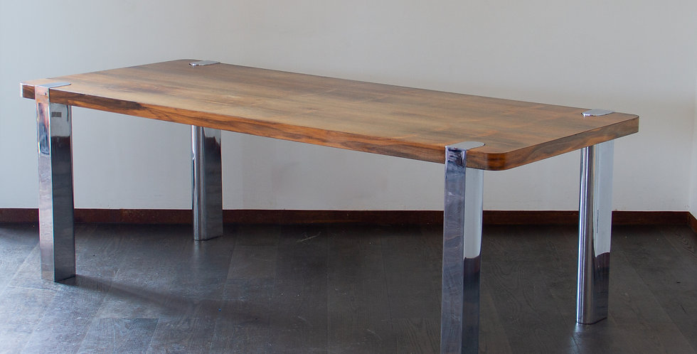 Large Chrome and Rosewood Dining Table