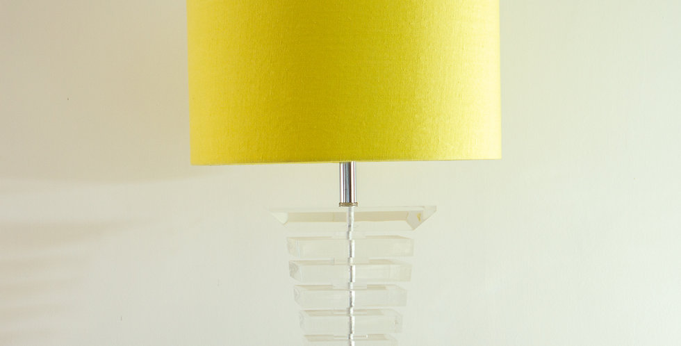 Large Tapered Lucite Lamp 1970s