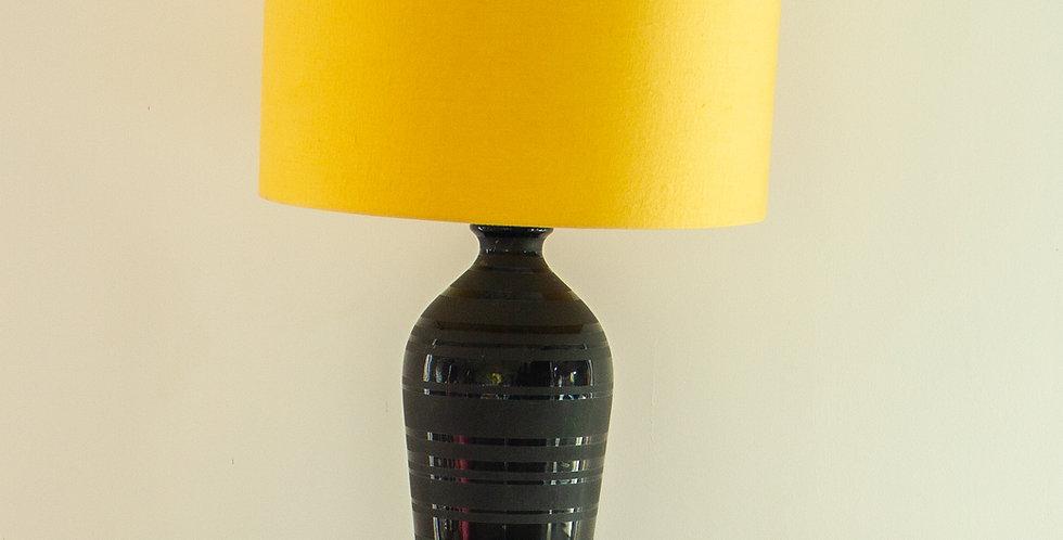 Single Black Ceramic Table Lamp 1960s