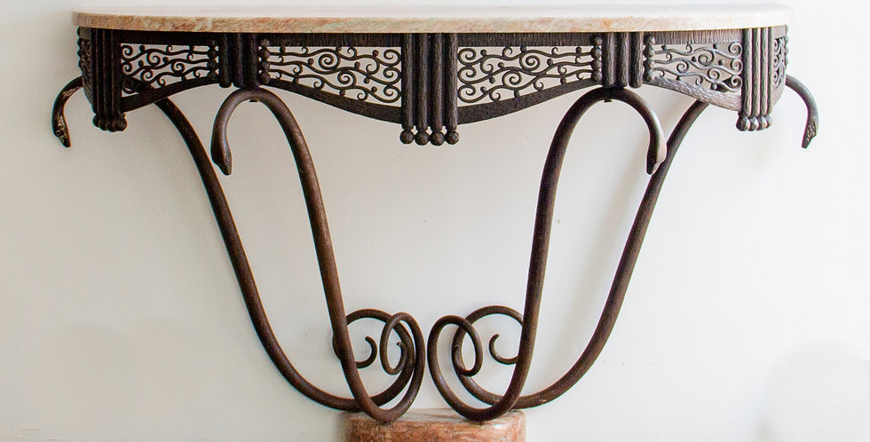 Art Deco Wrought Iron Console Table by Michel Zadounaïsky