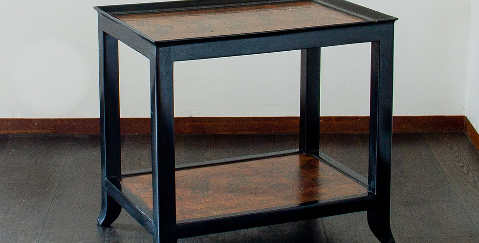 Two Tiered Ebonised and Faux Python Skin Occasional Table 1970s