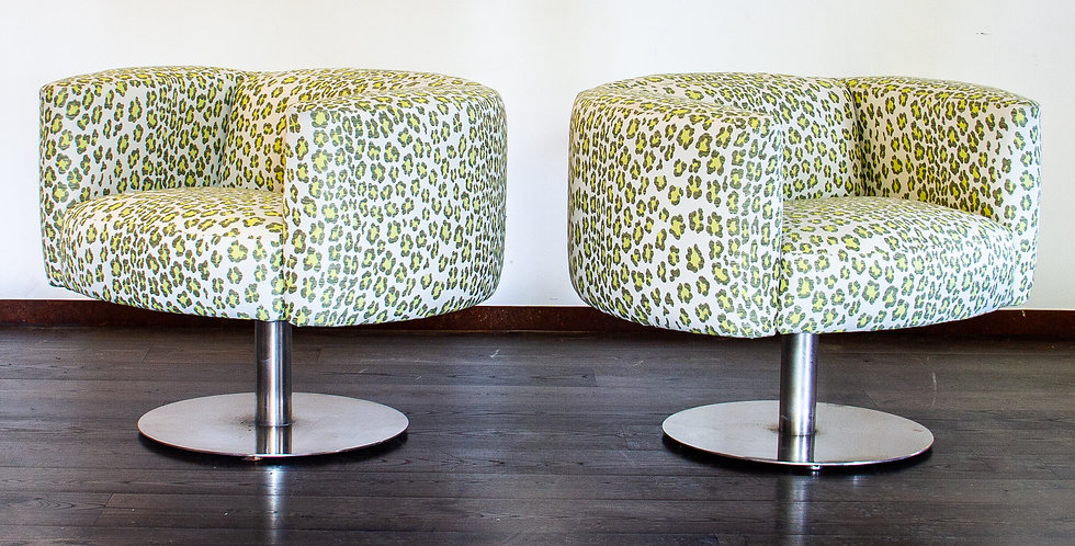 Pair of Heavy Steel Swivel Chairs by Carter