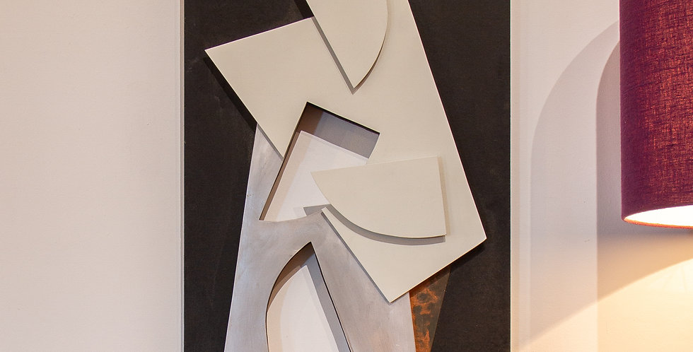 """""""Untitled"""" Wood and relief Wall Panel by Hans Richter"""