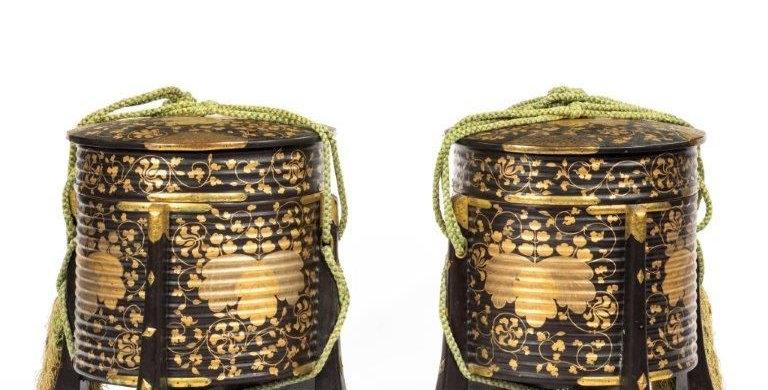 A Pair of Edo Period Black and Gold Lacquer Samurai Helmet Xoxes (Hakko Bako)
