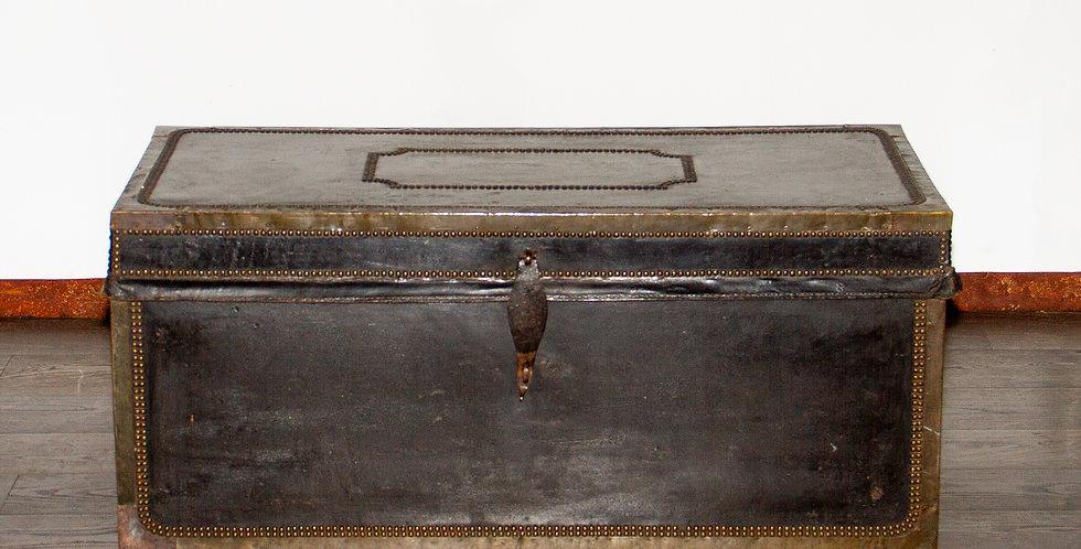 19th Century Camphor Wood & Black Leather Bound Trunk