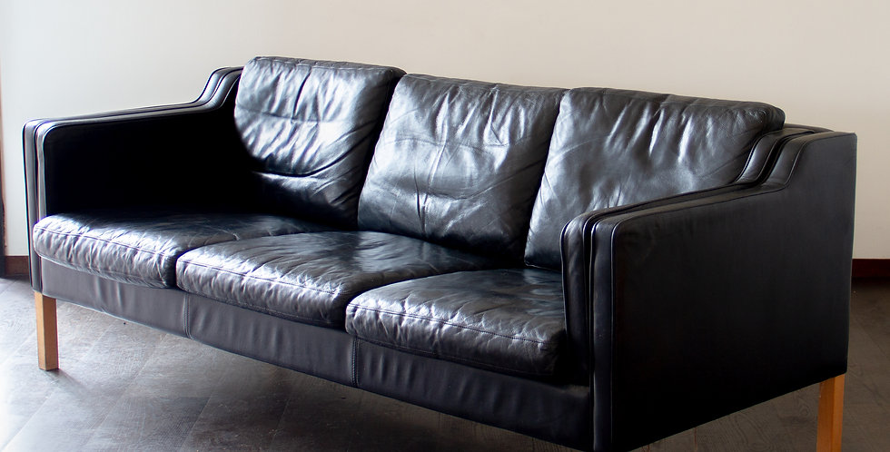 Danish Black Leather Three Seater Sofa, 1950s