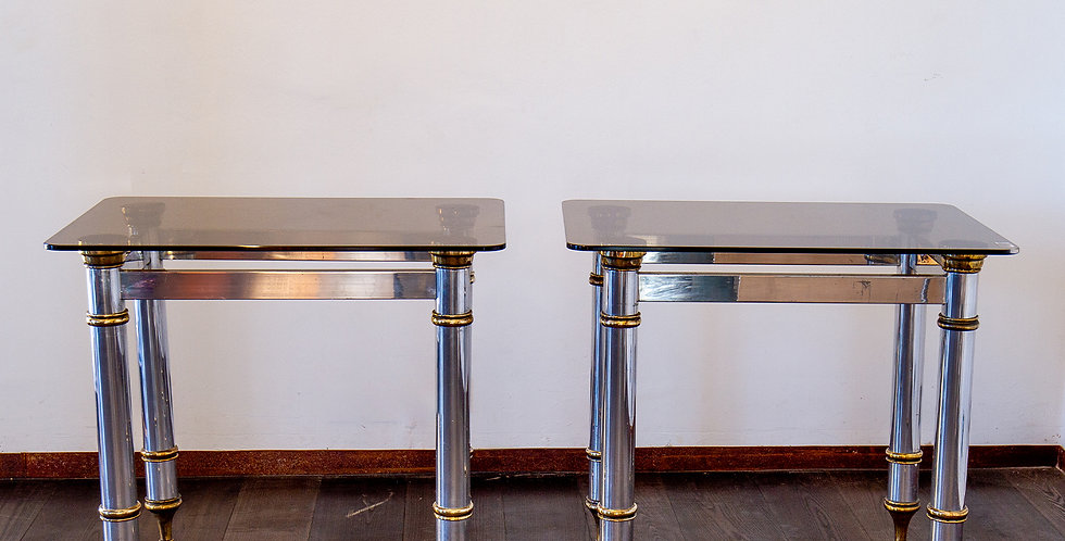 Pair of Aluminium and Brass Console Tables 1970s