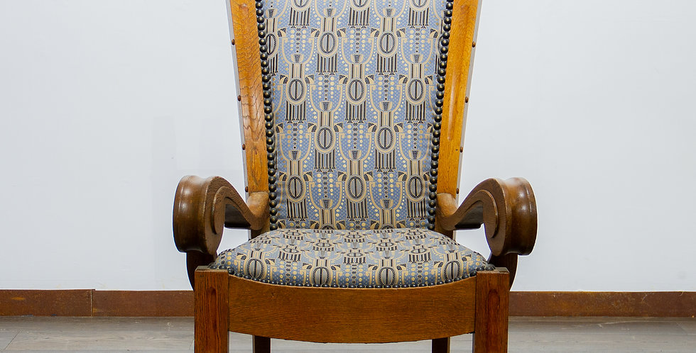 Unusual Carved Oak Danish Wing Chair