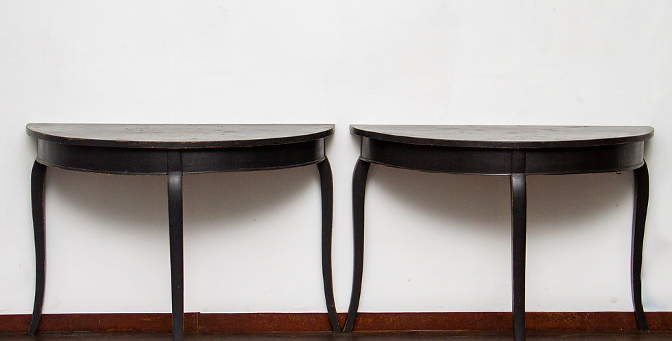Pair of Swedish 19th Century Gustavian Painted Wood Demi Lune Console Tables