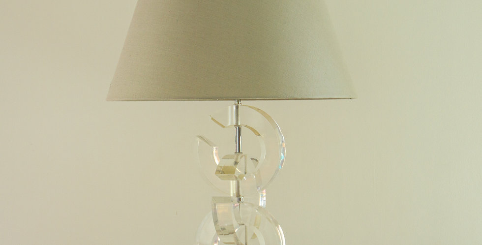 Chanel Inspired Lucite Lamp 1970s