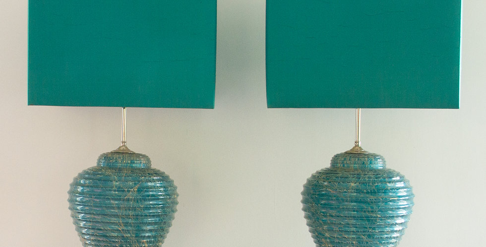 Pair of Blue Ceramic and Nickel Table Lamps circa 1970s