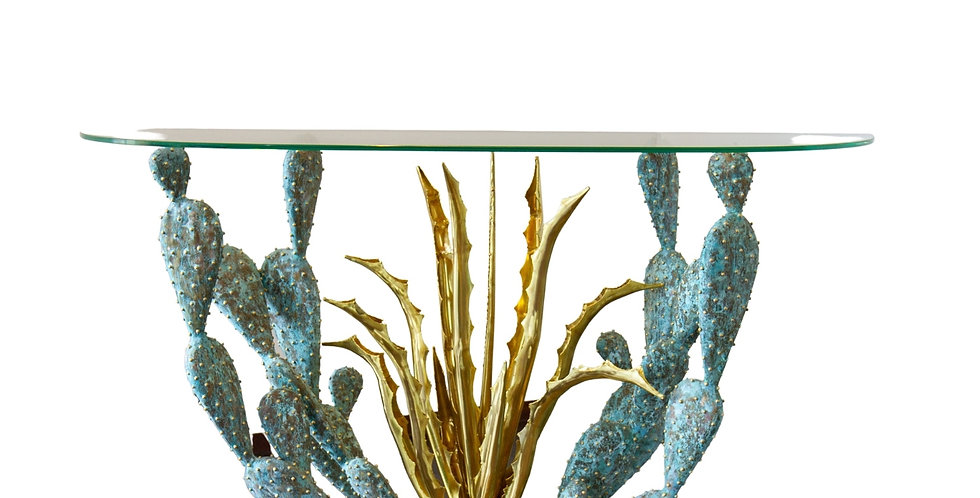 A Gilded and Oxidized Brass Cacti Console Table by Alain Chervet, 1992