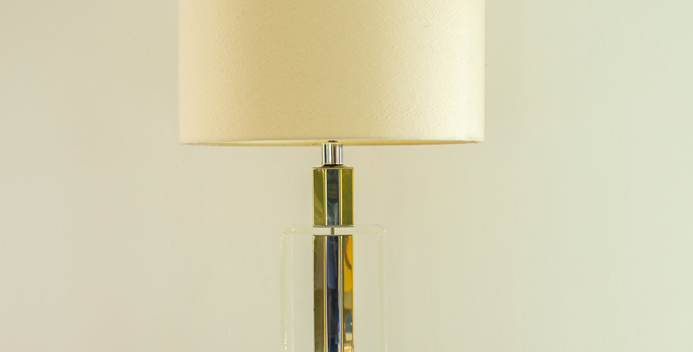Unusual Brass and Steel Column Table Lamp 1970s