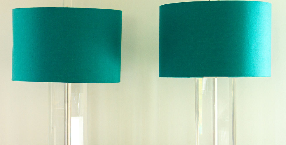 Pair of Triangular Shaped 1970s American Lucite Lamps