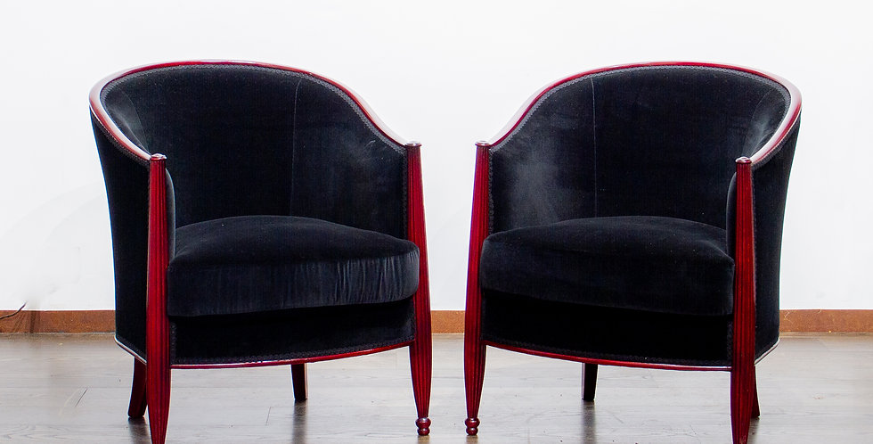 Pair of Elegant French Art Deco Bergere Chairs