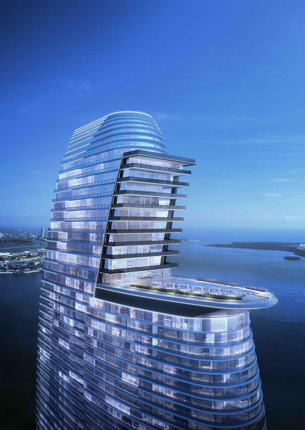 Upper Tower at Aston Martin Residences Miami with Pool Deck