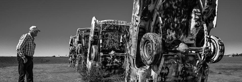 Old farmer at Cadillac Ranch - Amarillo Texas