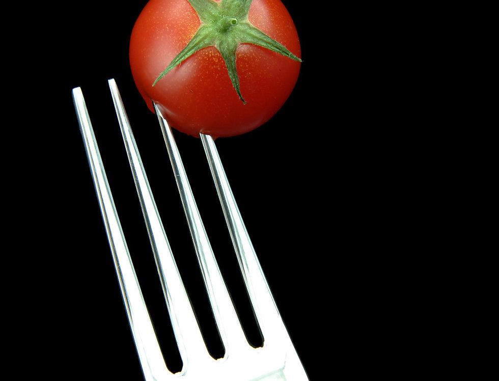 Still Life Photography Cherry Tomato on dinner fork