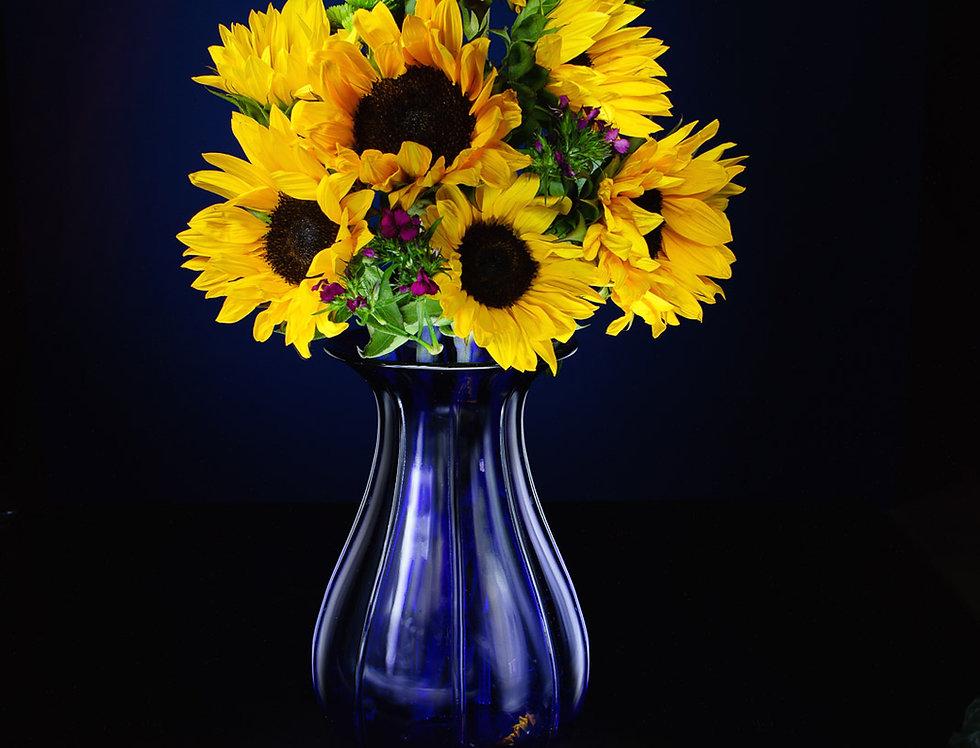 Still Life Photography | Yellow sunflower & blue vase