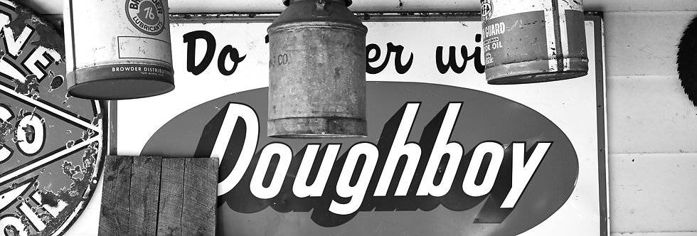 Black and white photography,  Doughboy Feed sign