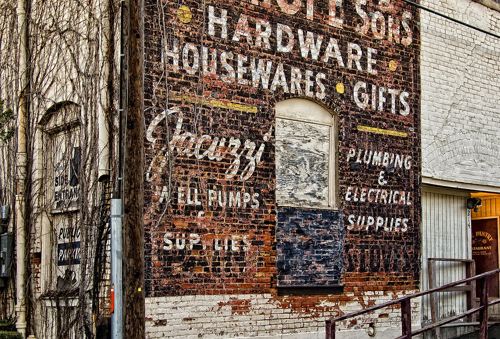 Hardwares and Gifts,-faded sign for local hardware store that closed years ago
