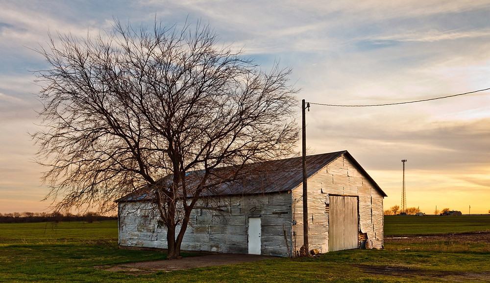 Cloudy sky at sunset, old barn and tree in the middle of winter