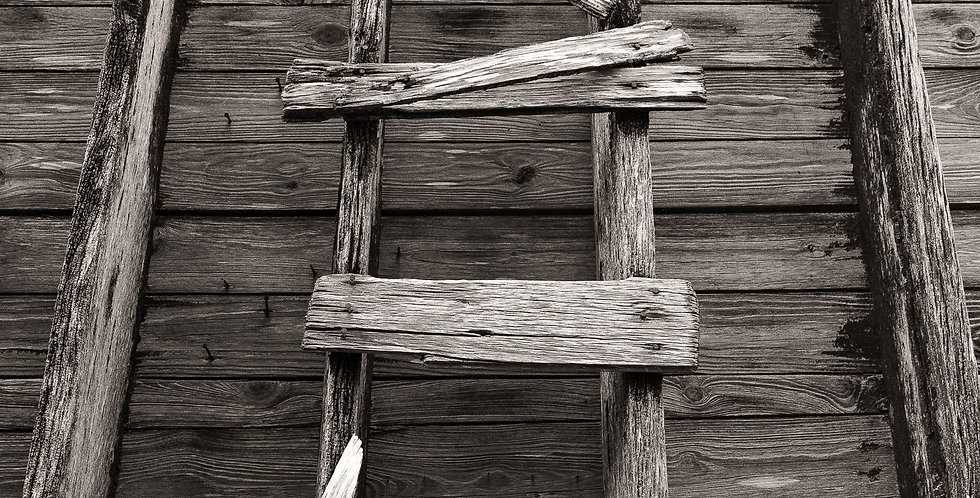 Decaying wooden latter on a grain elevator