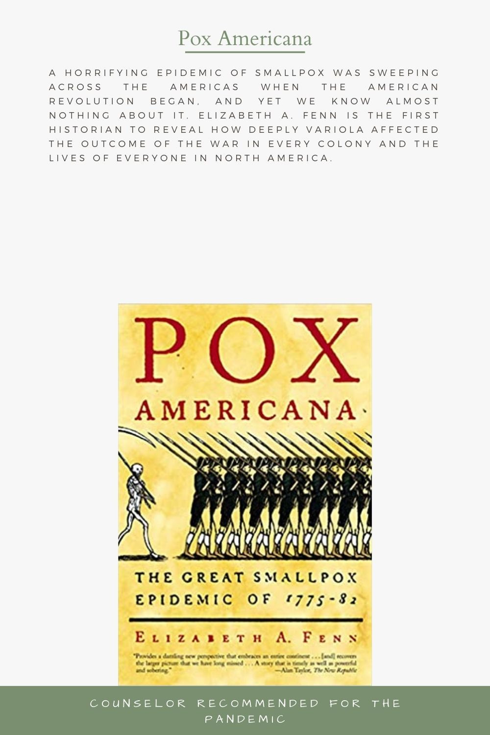 The Great Smallpox Epidemic of 1775-82