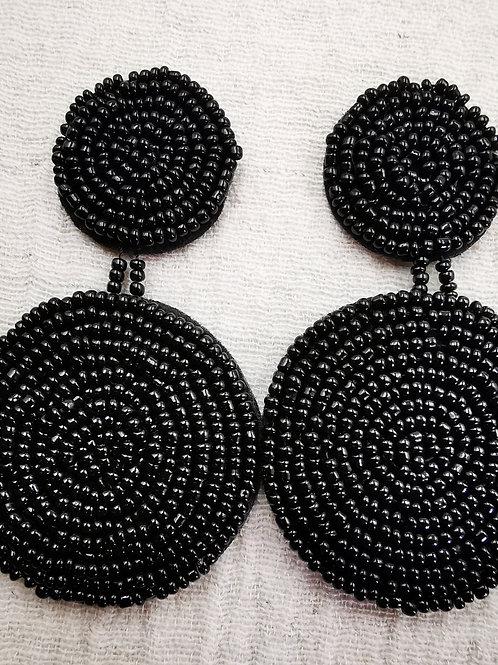 Pendiente Black doble Round noir