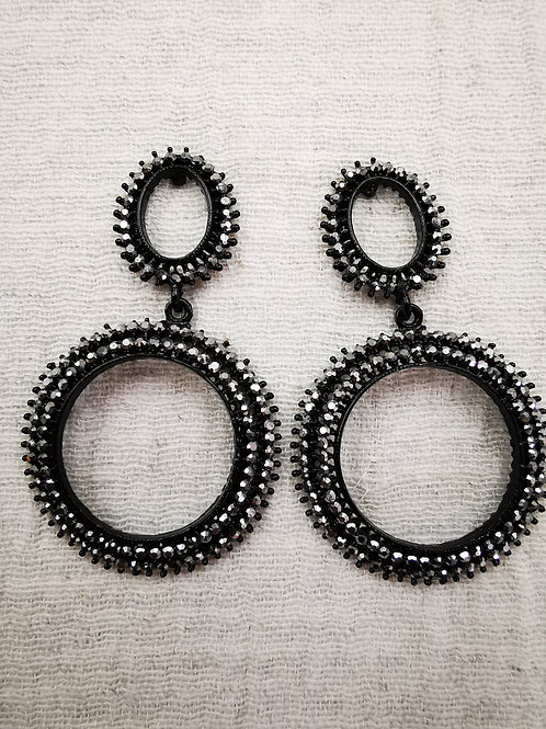 Pendiente Black doble Round