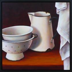 Enamel Jug, Bowls and Linen