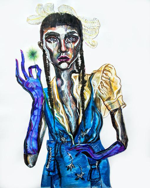 31.8.2018 Molly, Watercolour and colour pencils