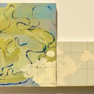 """Géographie parallèle, """"l'amérique' acrylique et huile sur toile, 60x70cm 2015"""