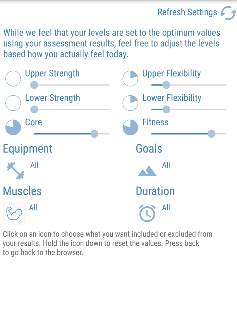 reAnimate - Exercise Settings linked Ass