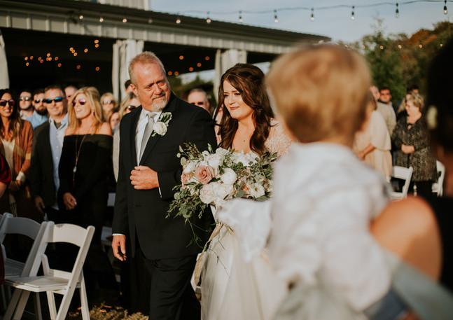 bride walking down isle, emotional, candid wedding photography, ceremony, allenbrooke