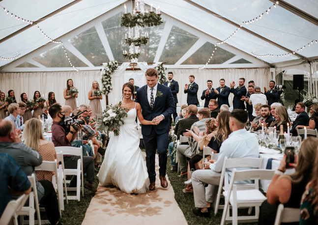 knoxville wedding, tent wedding ceremony, ceremony exit