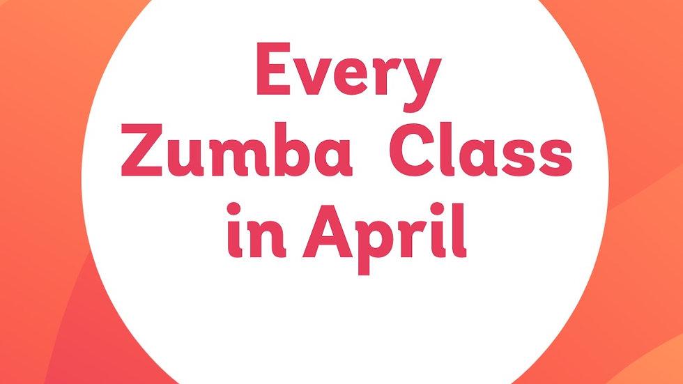 All April Zumba classes