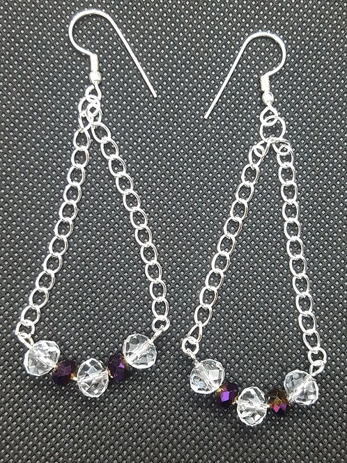 Purple Beaded Chain Earrings