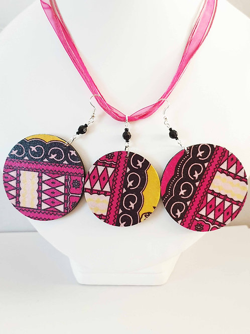 African Pink and black Wooden Earrings Set