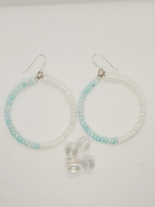 Aqua and white beaded Earrings