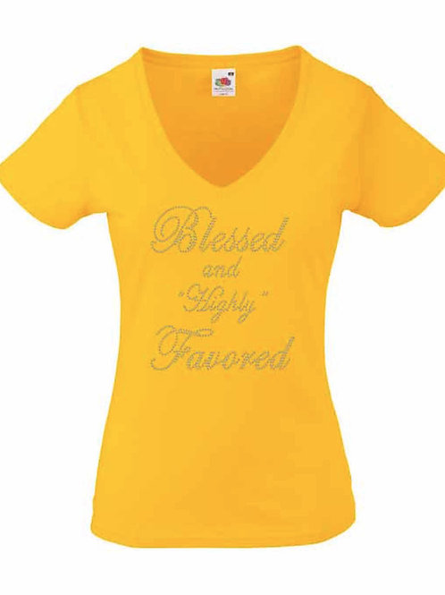 Blessed And Highly Favored Rhinestone T-Shirt