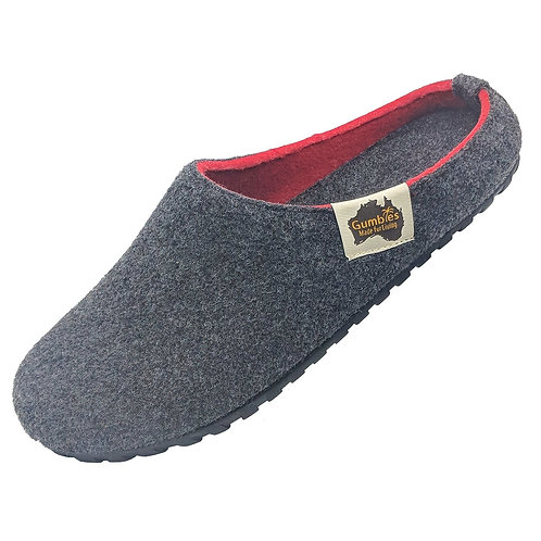 Unisex Gumbies Outback Slippers - Charcoal & Red