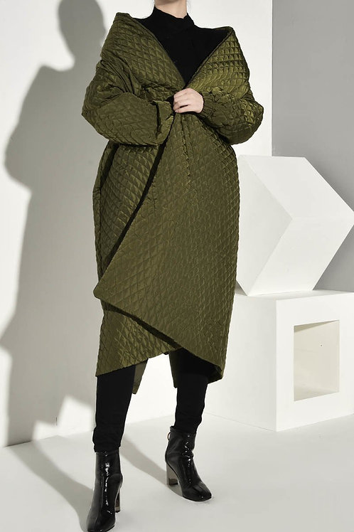 Alver Button Back Quilted Coat - Olive Green