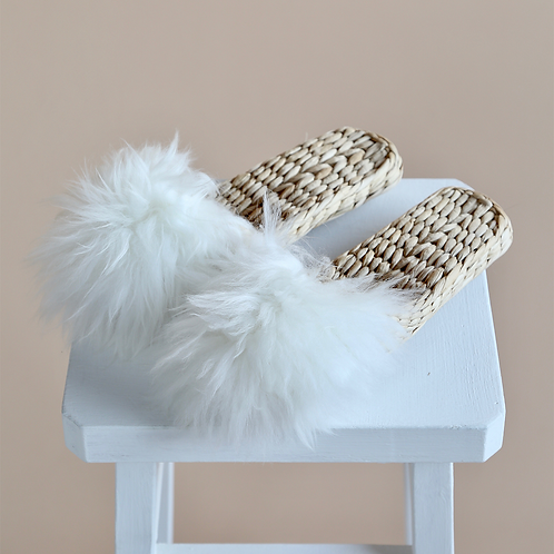 Lamb fur and Straw Slippers