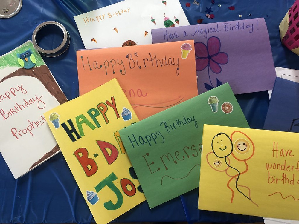 Some of the hand-decorated cards created by CASA staff and volunteers.