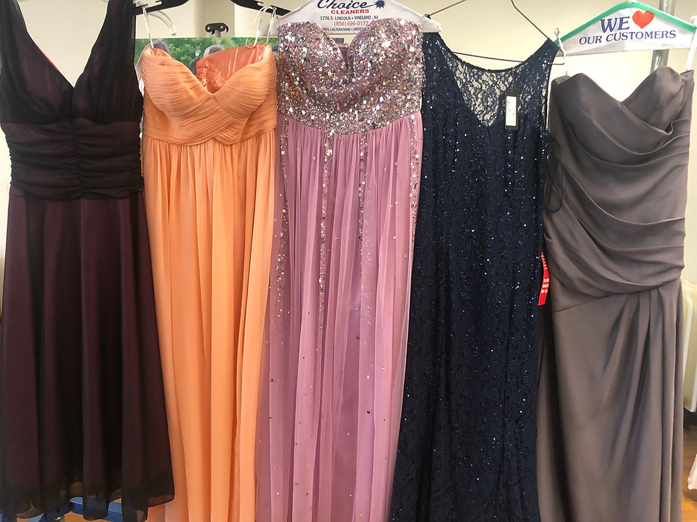 A few of the dresses collected for 'Project Prom Dress' in various colors and styles.